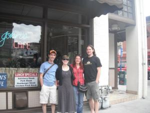 The PDX gang at John's Cafe. Note the bullet hole in the window.