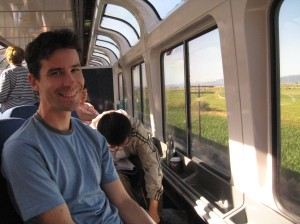 David in the Observation car